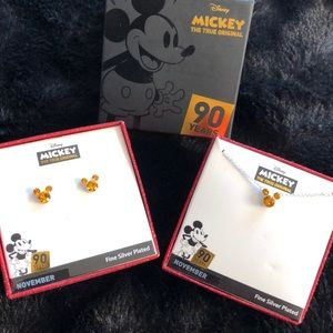 Disney Mickey crystal fine silver plated set
